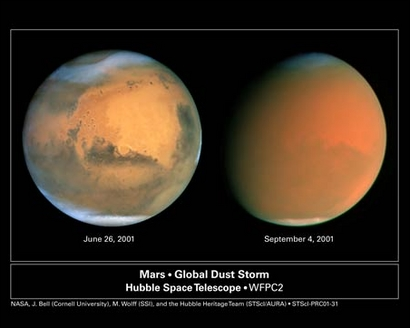 Staubstürme auf Mars