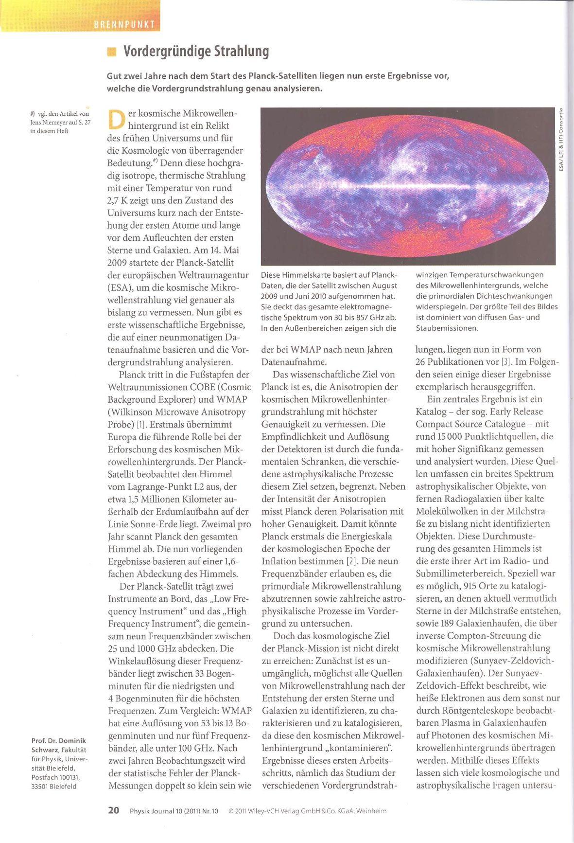 Planck-Sonde Zwischenergebnisse Okt. 2010