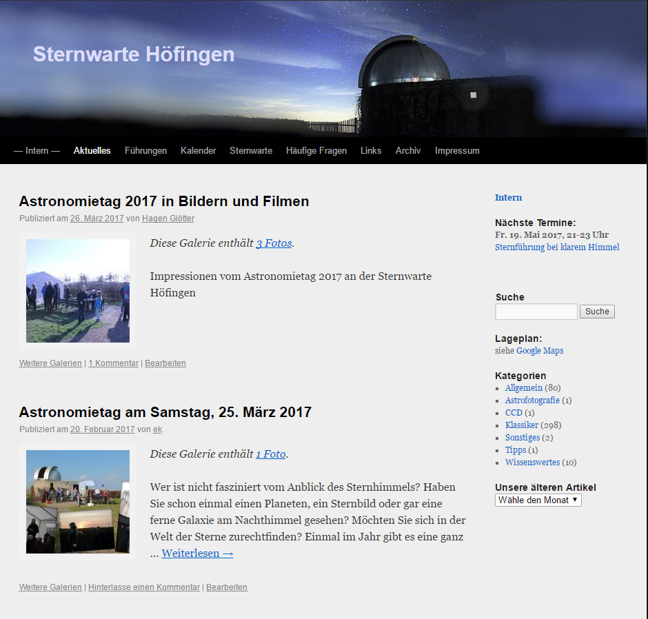 Alte Homepage bis 05.2017